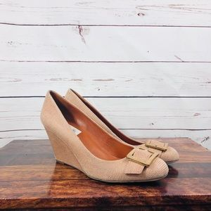 Via Spiga Wedge Leather Pink Nude Buckle Size 8.5M